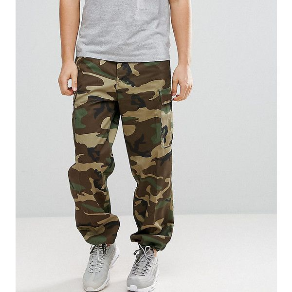 Reclaimed Vintage Revived Cargo Trousers In Camo ($72) ❤ liked on Polyvore featuring men's fashion, men's clothing, men's pants, men's casual pants, green, mens camo pants, tall mens cargo pants, mens green pants, mens cargo pants and mens military style cargo pants