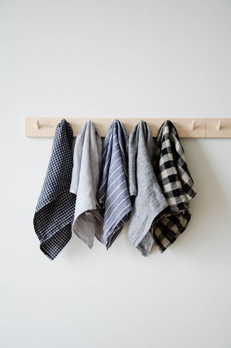 "These long-lasting natural linen kitchen towels will only get softer and more absorbent with each wash. A nifty cotton loop allows for it to easily hang-dry. Made in Lithuania 17.5"" W x 25.5"" L 100% linen Made in Lithuania Machine wash gentle, dry cool or line-dry."