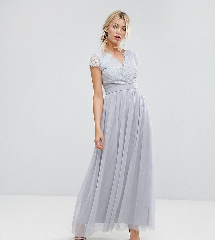 Little Mistress Wrap Front Maxi Dress With Eyelash Lace Trim - Gray