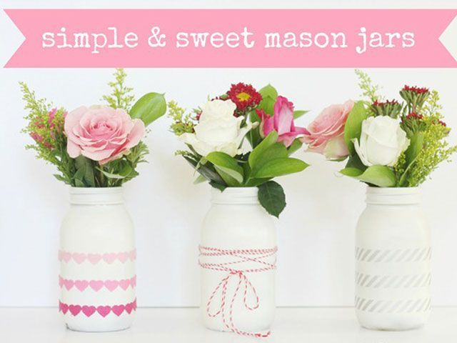 Create a beautiful centerpiece or mantel decoration by adding embellishments to three painted Mason jars.
