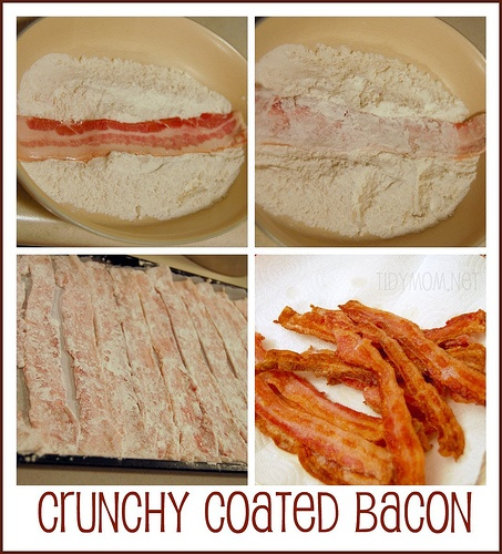 Oven baked Crunchy Coated Bacon - you'll never eat fried bacon again from @Cheryl TidymomBreakfast Casseroles, Ovens Baking, Coats Bacon, Fries Bacon, Baking Crunchy, Crunchy Coats, Bacon Biscuits, Eating Fries, Bacon Recipe