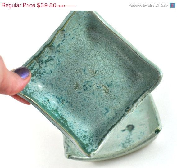 CIJ SALE Ceramic Bowls Square: set of two Handmade Pottery Green Condiment Dishes