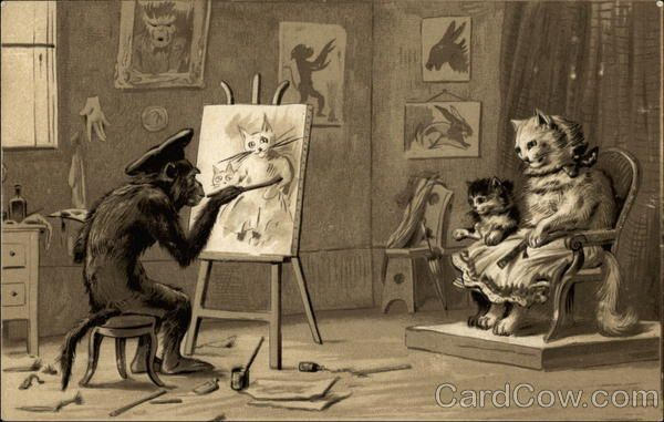 Monkey Painting Cats Maurice Boulanger Monkeys Artists