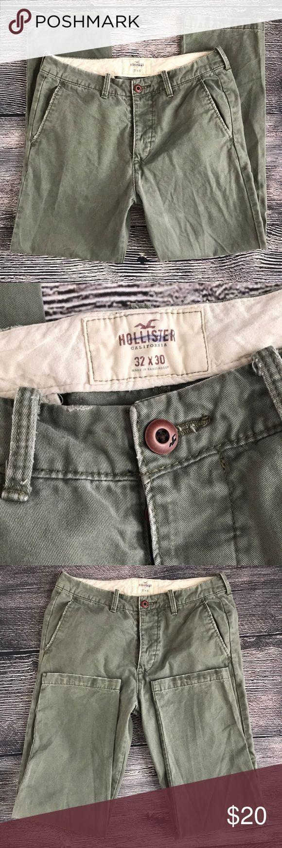 Hollister olive green 32 x 30 100% pants Hollister California 32 x 30 may have Bangladesh. Olive green slacks with front pockets, back pockets, belt loops. Hollister Pants Trousers