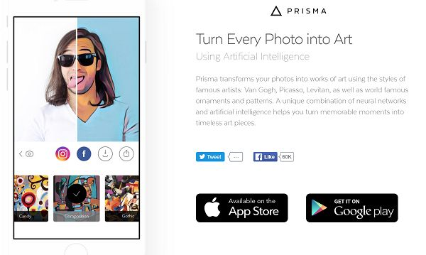 Apps which change photos into art-like creation which use filters are easy to find. This astounding app uses artificial intelligent which makes choices adapt how to adapt the image to produce amazing results. There are currently over 30 styles to choose from... the AI allows you to do that bit! iOS: http://itunes.apple.com/us/app/prisma-art-photo-editor-free/id1122649984?mt=8&uo=4&at=11lt9Z Android: http://play.google.com/store/apps/details?id=com.neuralprisma