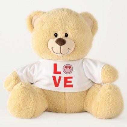 Valentine Heart Eyes Emoji Love Large Teddy Bear - heart gifts love hearts special diy