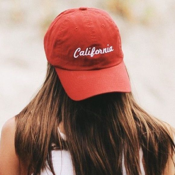 """BRANDY MELVILLE RED BASEBALL CAP A very trendy baseball cap embroidered with """"California"""" and adjustable to your head size! Super adorable accessory for any outfit. Brandy Melville Accessories Hats"""