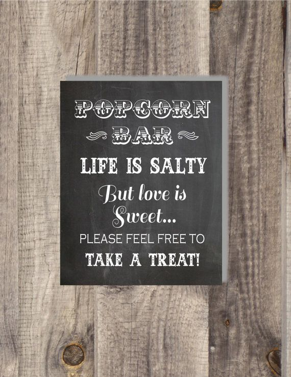 8x10 Instant Download Popcorn Bar Wedding Favor Candy