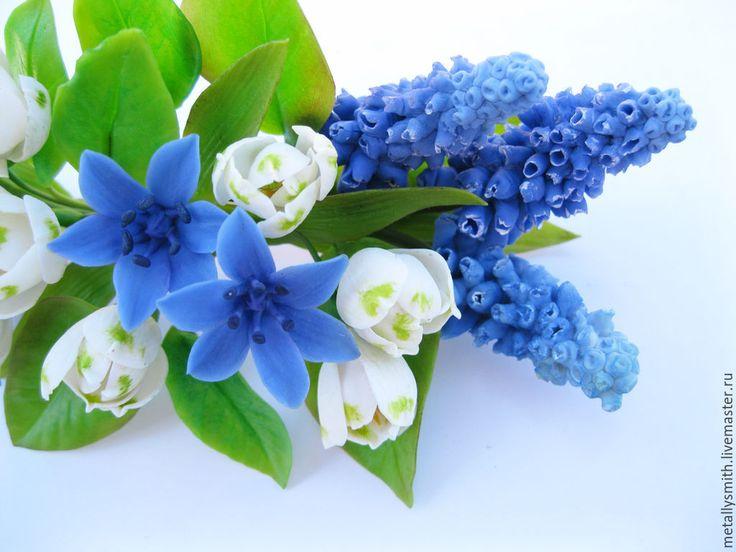 Купить Весенняя заколка с первоцветами - синий, первоцветы, первоцвет, мускари, пролески, подснежник, весенние цветы