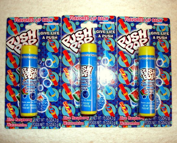 Push Pop Candy Blue Raspberry Watermelon Flavored Lip Balm Lip Gloss 3 Tubes Carded and Sealed