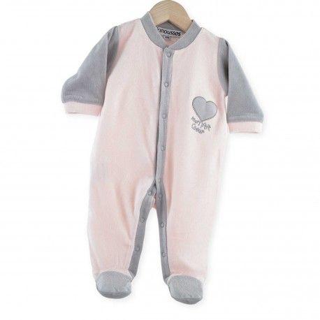"""Pyjama naissance bébé fille """"mon p'tit coeur"""" rose et gris idéal pour la maternité"""