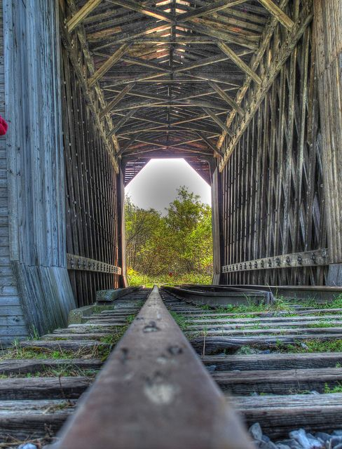 Fisher Railroad Bridge, Wolcott, Vermont. Built in 1908, this was Vermont's last remaining covered railroad bridge.