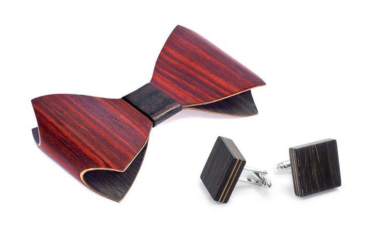Комплект галстука-бабочки ЛЮКС и запонок от БАГ из дерева | Красное красное дерево - красный махагон / Клён / Чёрный дуб L