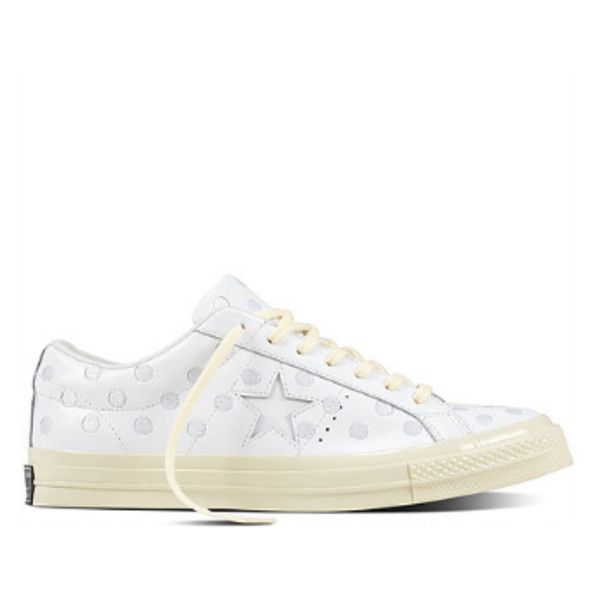 Women's White Embroidered Polka Dot CONS One Star '74 Sneakers (€46) ❤ liked on Polyvore featuring shoes, sneakers, white leather shoes, embroidered shoes, white leather sneakers, white trainers and converse sneakers