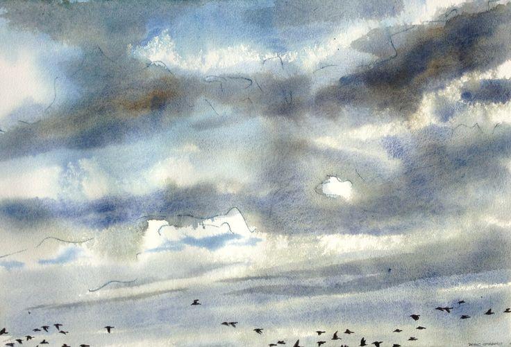 """Shorebirds and evening sky"" from Blackbirds fly series"