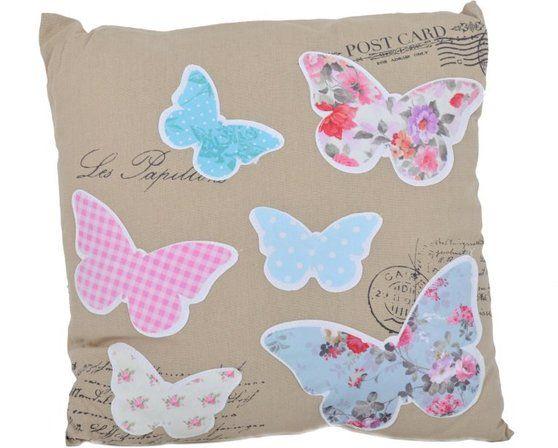 Poduszka Beżowa Z Motylami