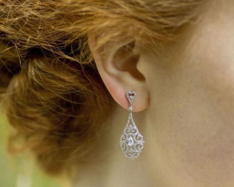 Wedding Earrings - Drop Style Filigree And Crystal Earrings, Halo