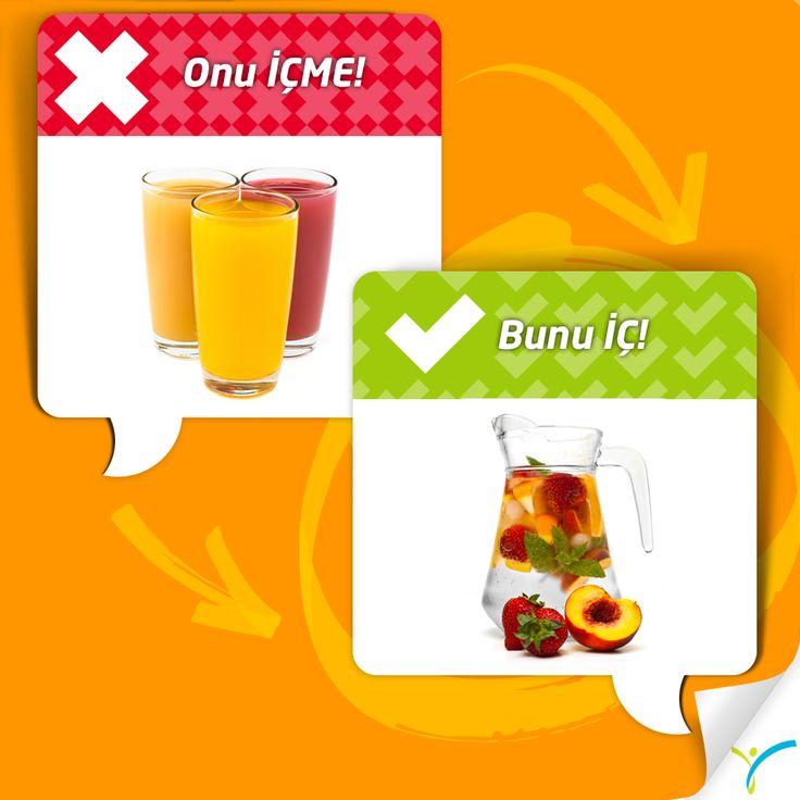 200ml karışık bir meyve suyu 178 kalori iken 200ml karışık meyveli su 0 kaloridir.