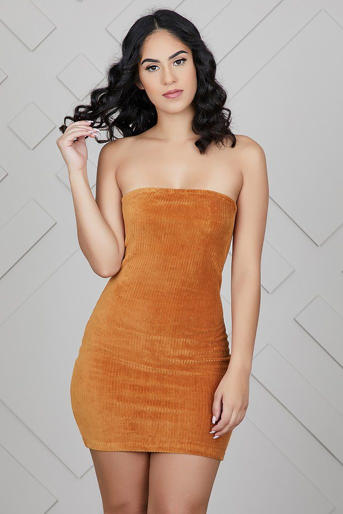 Corduroy Tube Top Mini Dress  67da21d84