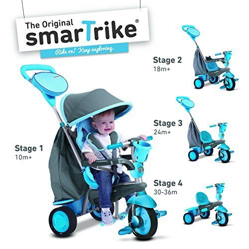 Product review for smarTrike Swing 4-in-1 Baby Trike Light-Weight 12 pound With Padded Seat Foot Rest Quiet Ride Wheels Cup Holder Storage Bag Canopy - Swing, the 4 in 1 transformative trike by smarTrike® is perfect for children 10 to 36 months old. Swing moves with ease thanks to our wide grip handle and Touch Steering® technology, Swing adapts to your child's development throughout 4 stages. Equipped with a large front swivel wheel for p...