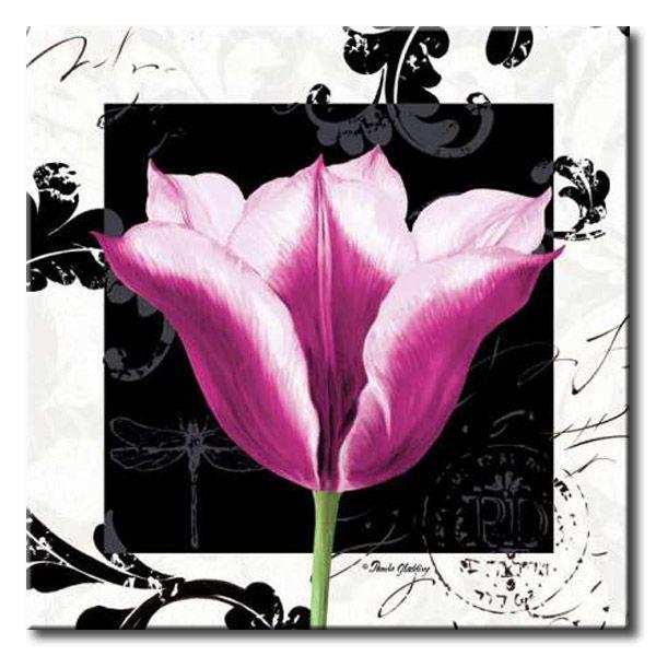 GlA_484_Damask Tulip III / Cuadro Flores, Flor lila sobre fondo vintage moderno