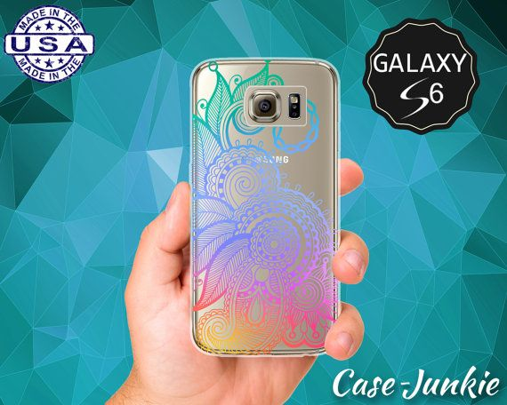 Rainbow Henna Tattoo Flower Design Tumblr Inspired Mandala Case for Clear Rubber Samsung Galaxy S6 and Samsung Galaxy S6 Edge Clear Cover $14.99