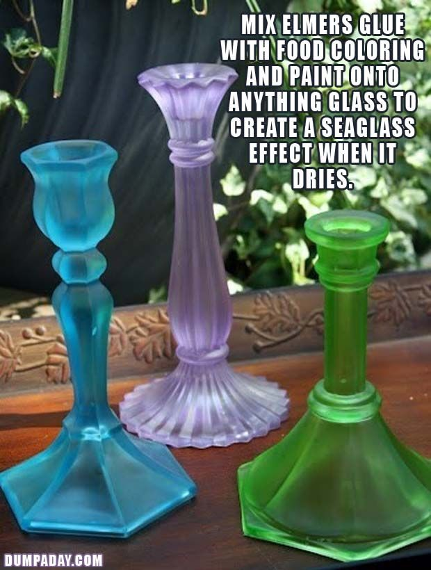 mix elmers glue with food coloring and paint onto anything glass to create a seaglass effect when it dries, so doing this!