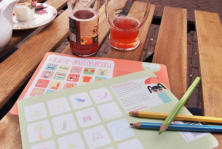 Duurt een terrasje pakken te lang? Maak zelf je eigen Vakantie-Bingo op de achterkant van je Vakantie-Bingo voor zes landen.