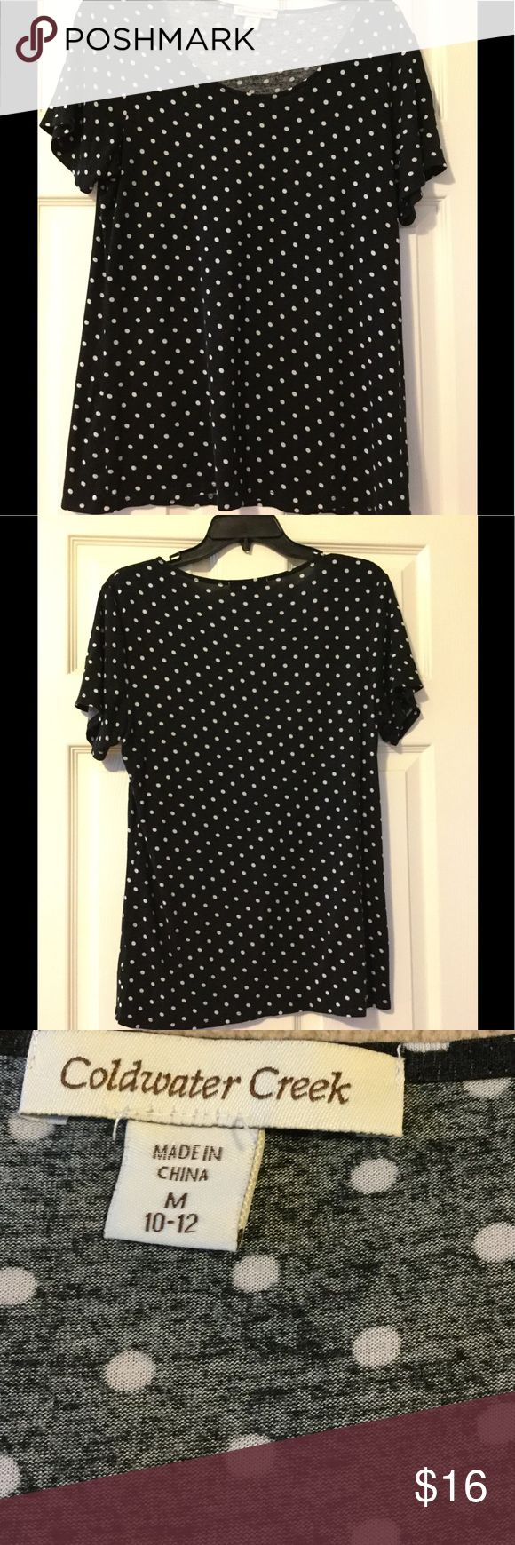 Black and white polka dot top This cute shirt is very soft and flowy.  Black with polka dots and short sleeved. Coldwater Creek Tops Tees - Short Sleeve