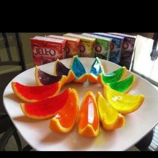 soo cool! n.n: Jello Orange, Jello Shots, Idea, Orange Slices, Rainbows, Jelly, Kids, Jello Shooter, Summer Snacks