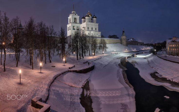 Pskov in the evening - null