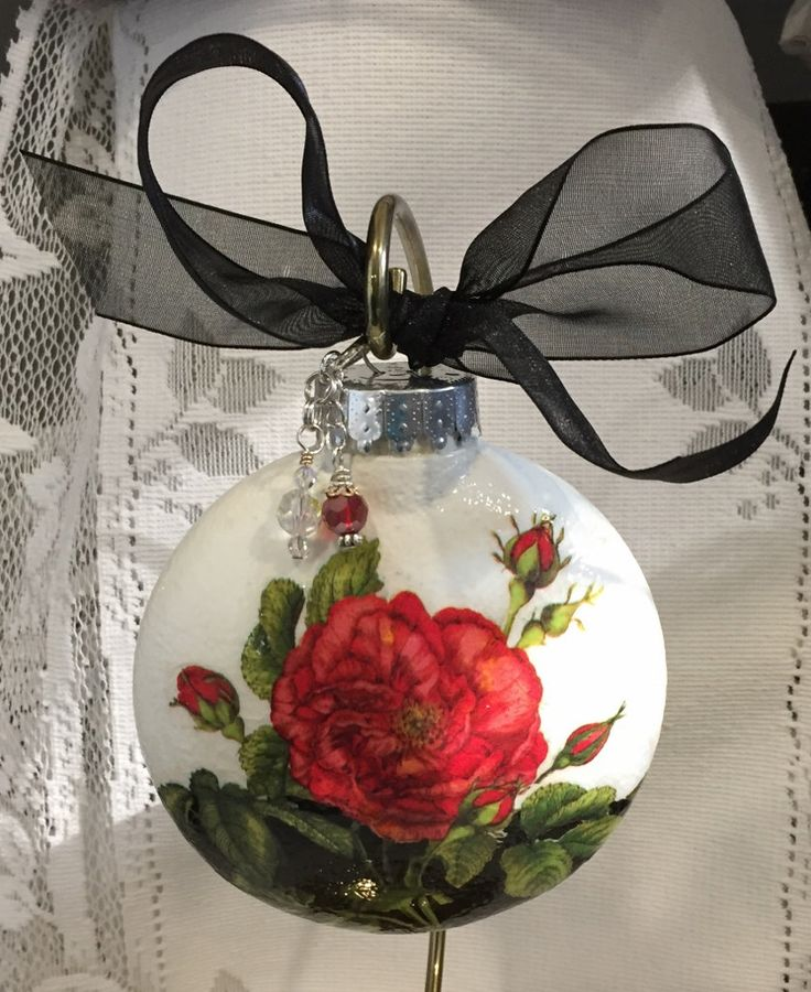 Hand decorated ornament - Decoupage, Christmas Ball, Decoration, home decor by TRULYALLSUPPLIES on Etsy