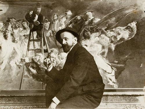 Jacek Malczewski at work