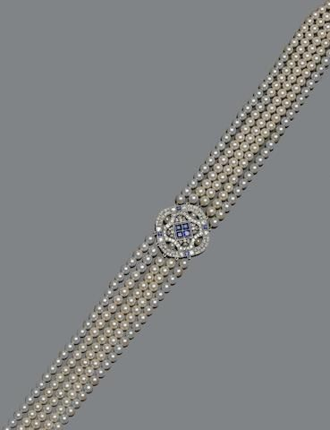 A five row cultured pearl choker necklace