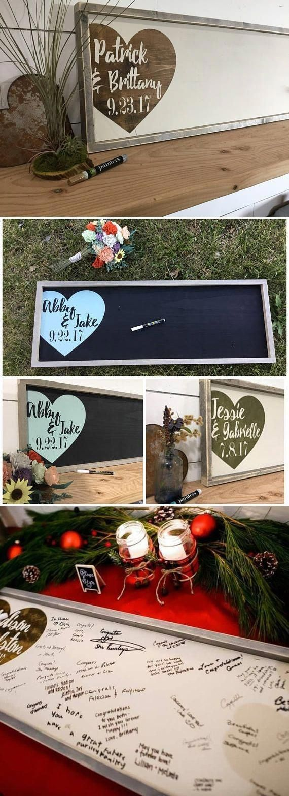 Wedding decorations names october 2018 Rustic Wedding Guest Book Alternative  Wood Wedding Sign  Custom