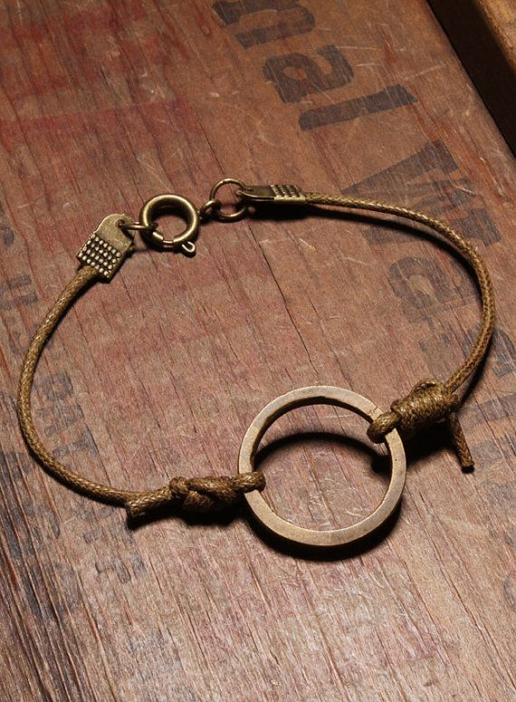 Bracelet for men - Vintage brass ring - Light brown wax cord