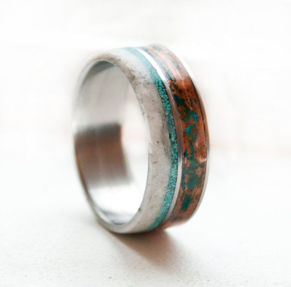 Mens Wedding Band Patina Copper, Antler & Turquoise Wedding Ring