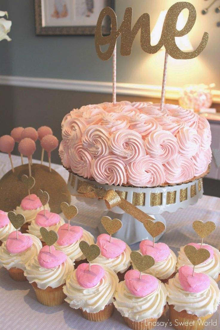 Birthday table decorations for girls - Lindsay S Sweet World Pink And Gold First Birthday Party Food Table