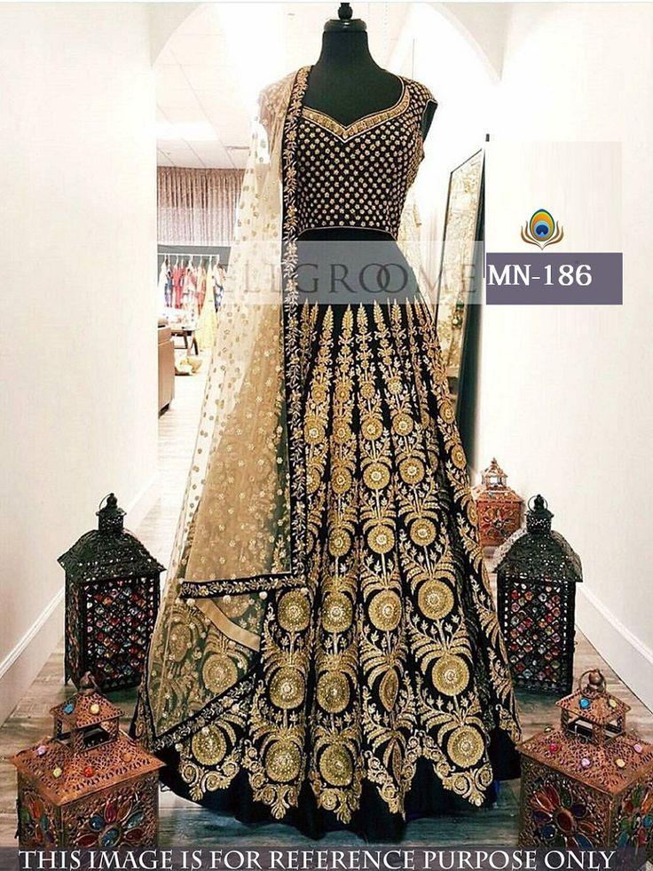 Price @3300.00 INR  Colour : Black & Golden       Fabric : Top & Lehenga Bangalori Silk Dupatta Naylon Mono Net With Inner Satin Silk   Work :  Fancy Thread Work