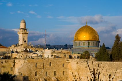 The symbols of world religions: the Western Wall, the Al Aqsa Mosque, the Dome of the Rock. Jerusalem, Israel.