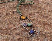 Girlfriend Gift Pendant-Amethyst,Aventurine,Lapis lazuli,Tigers eye Fish Pendant with leather stripe-925 sterling silver