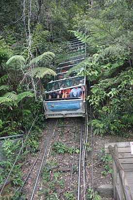 Katoomba, Australia. The Scenic Railway coming down from the station on the top with people in its carriage.