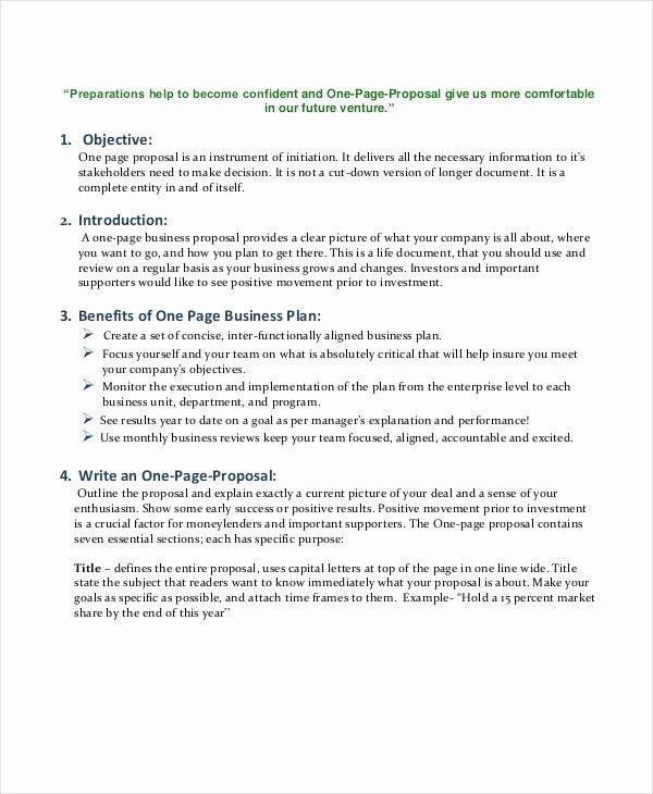 One Page Proposal Template Doc Fresh Free E Page Business Plan Template Dannybarrantes T One Page Business Plan Business Proposal Template Proposal Templates
