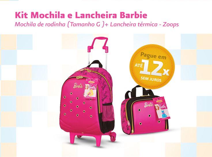 Kit Mochila Escolar Rodinhas Barbie Zoops - Sestini R$ 259.99