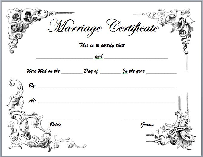 20 best Printable Marriage Certificates images on Pinterest - free blank certificate templates for word
