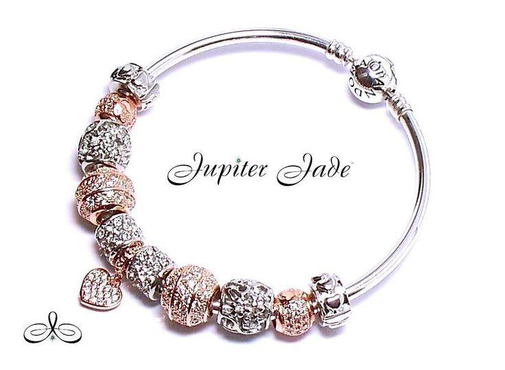 pandora rose gold pave heart bracelet