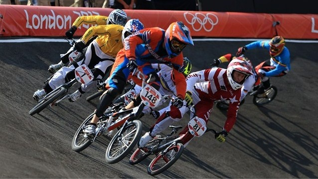Twan van Gendt of the Netherlands leads the field out of the berm during the men's BMX Cycling quarter-finals on Day 13 of the London 2012 Olympic Games.