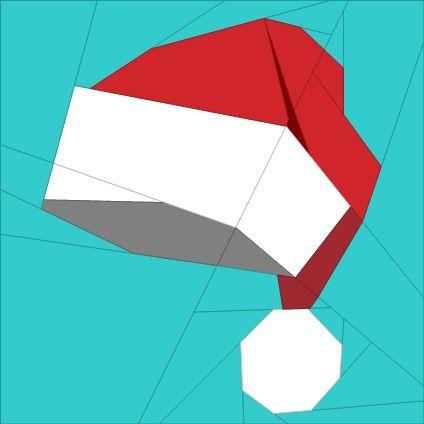 "Santa's Hat 6"" (16cm) Paper Pieced pattern quiltartdesigns.blogspot.com"