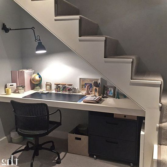 Best 25 desk under stairs ideas on pinterest office for Office space basement