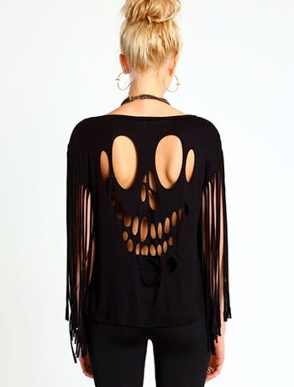 T-shirt: ripped shirt shreded shredded shirt, black, skull, skull shirt